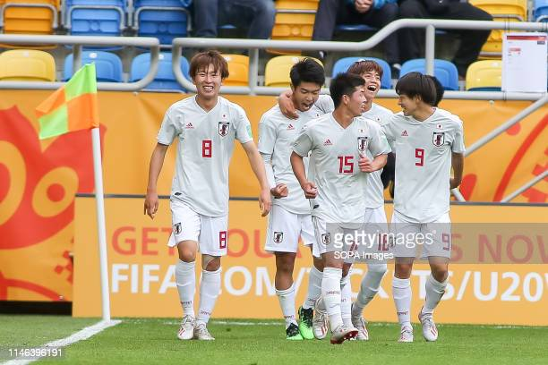 Kanya Fujimoto, Taisei Miyashiro, Toichi Suzuki, Kota Yamada and Koki Saito from Japan are seen celebrating a goal during the FIFA U-20 World Cup...