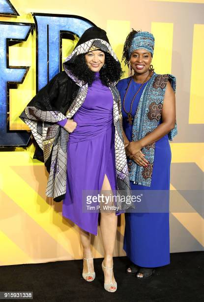 Kanya King and Dawn Butler attend the European Premiere of 'Black Panther' at Eventim Apollo on February 8 2018 in London England