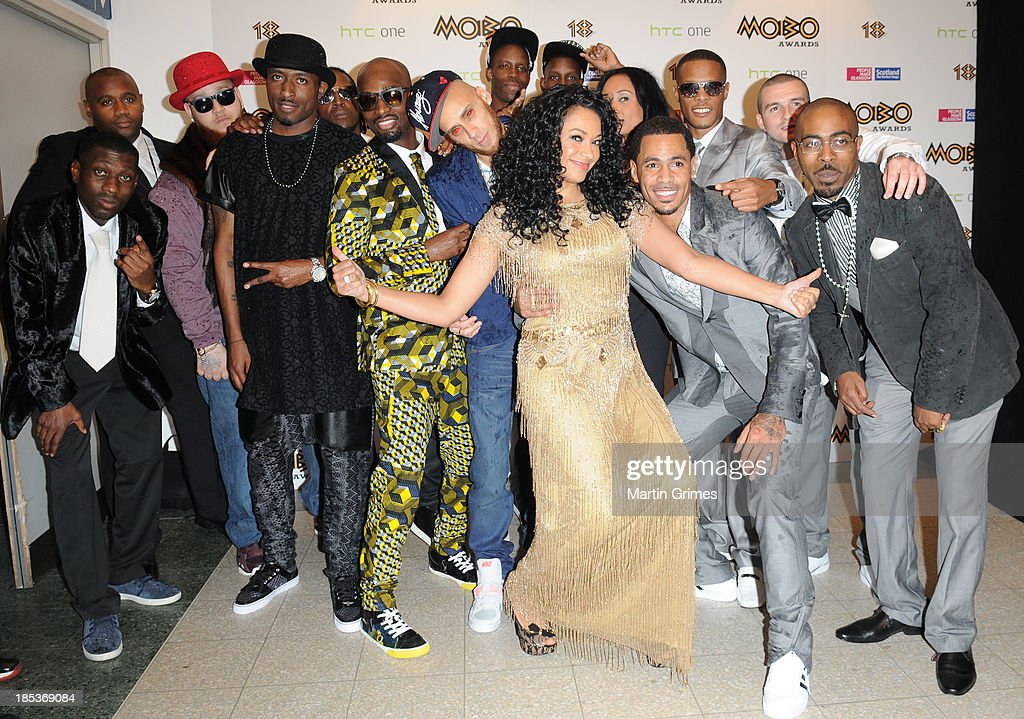 Kanya King MBE poses with So Solid Crew at the 18th anniversary MOBO Awards at The Hydro on October 19, 2013 in Glasgow, Scotland.