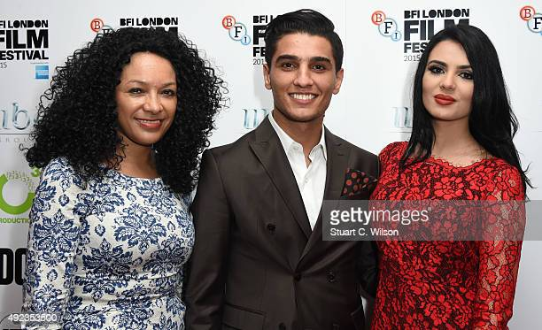 Kanya King Mohammed Assaf and Lina Qishawi attend 'The Idol' Sonic Gala In Association With MOBO Film during the BFI London Film Festival at Vue...