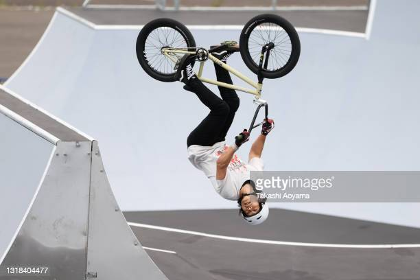 Kanya Ohnishi competes in the Men's Seeding Run during the Cycling BMX Freestyle test event at the Ariake Urban Sports Park on May 17, 2021 in Tokyo,...
