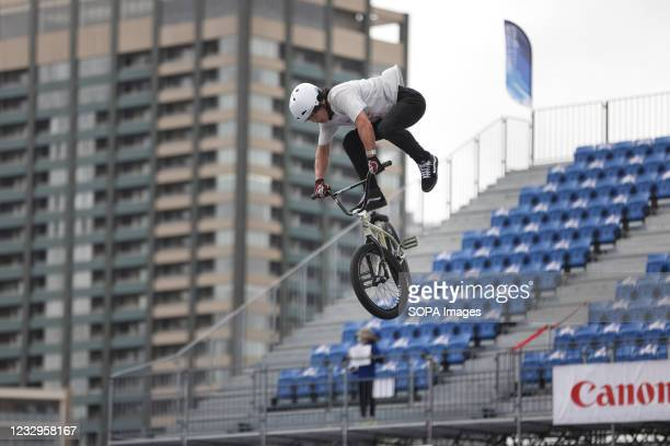 Kanya Ohnishi in action during warm up for the first heat run at the Ready Steady Tokyo BMX Freestyle Olympic Test Event in Ariake Urban Sports Park.