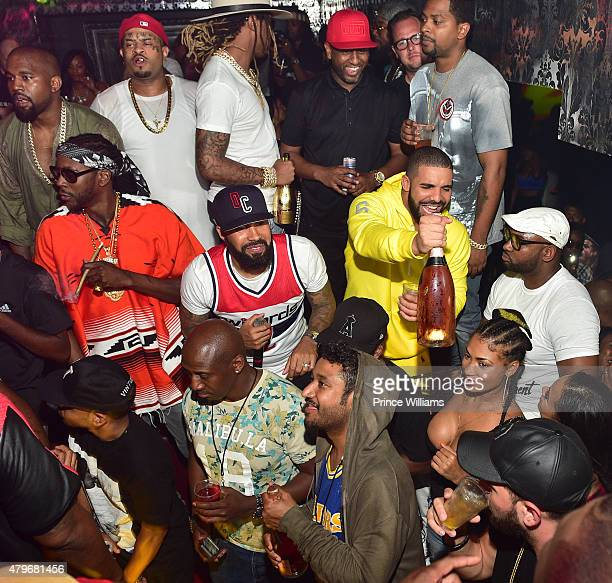 Kanye West 2 Chainz Kenny Burns Future Alex Gidewon and Drake attend at Compound on June 20 2015 in Atlanta Georgia