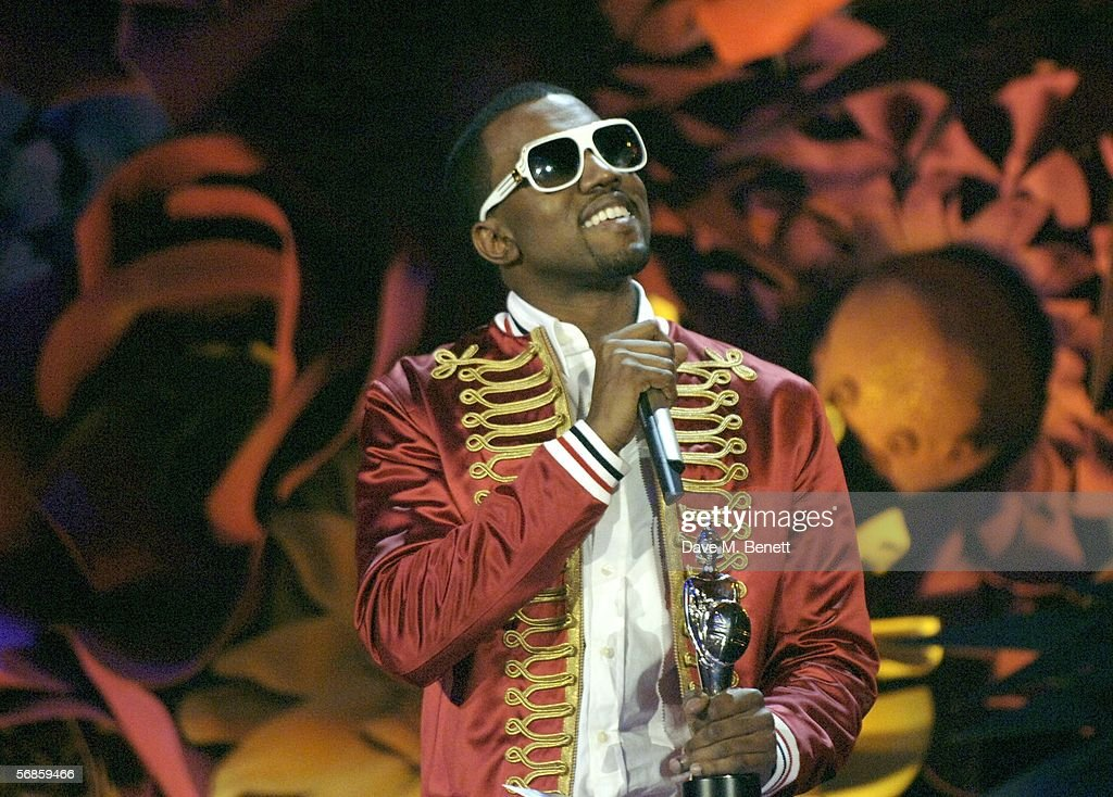 Kanye West accepts the award for International Male Solo Artist on stage at The Brit Awards 2006 with MasterCard at Earls Court 1 on February 15, 2006 in London, England. The 26th annual music awards highlight the achievements of the UK record industry with all proceeds donated to the British Record Industry Trust (BRIT).