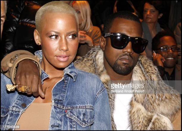 Kanye West Amber Rose at The Dior Fashion Show Introducing The Menswear Autumn Winter 20102011 Collection In Paris