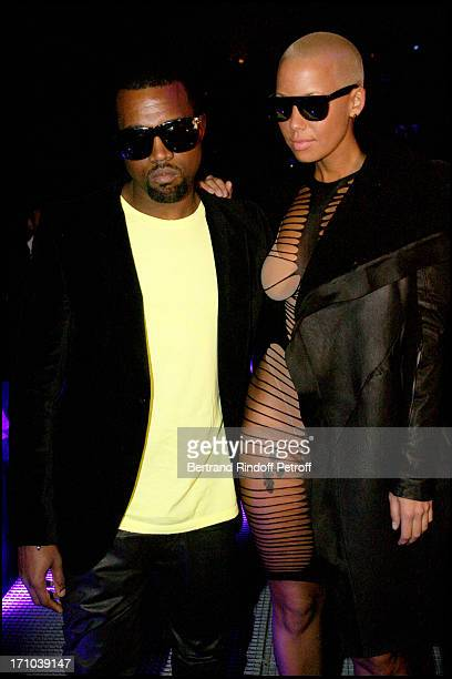 Kanye West Amber Rose at The John Galliano Fashion Show Introducing The AutumnWinter 20102011 Menswear Collection In Paris