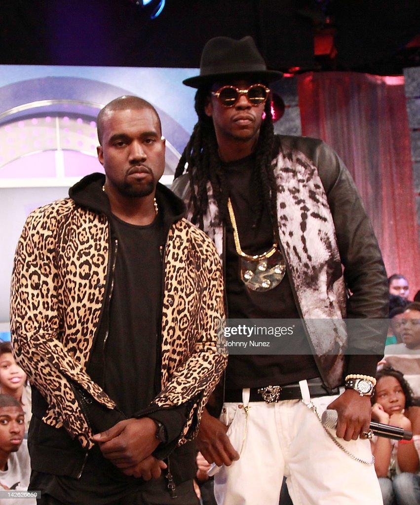 d5403e70beb Kanye West and 2 Chainz visit BET s 106   Park on April 9