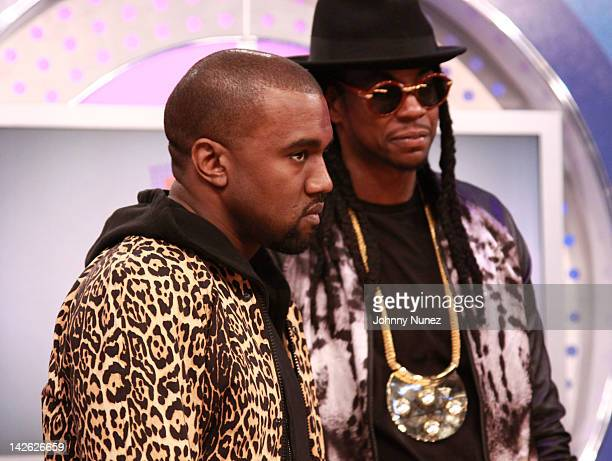 31489fca4d4 Kanye West and 2 Chainz visit BET s 106 Park on April 9 2012 in New York