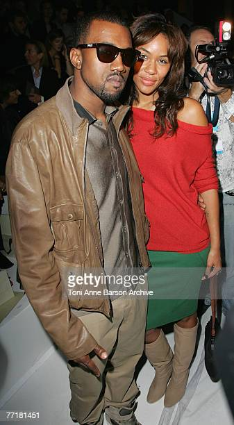 Kanye West and Alexis Phifer arrive at the Stella McCartney Fashion Show on October 4th 2007 in Paris