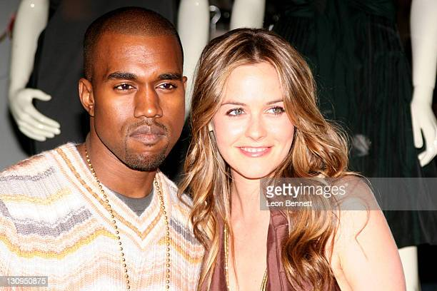 Kanye West and Alicia Silverstone during Stella McCartney Store Christmas Window Lighting at Stella McCartney Boutique in Los Angeles CA United States