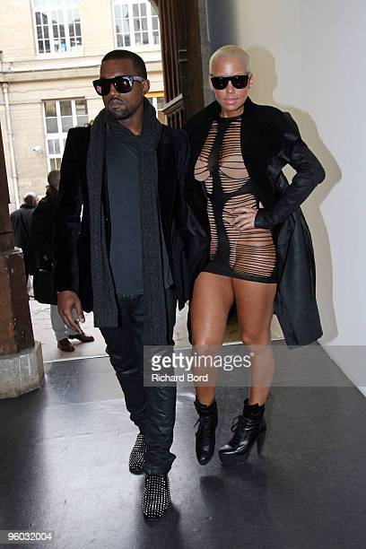 Kanye West and Amber Rose are sighted arriving at Paris Fashion Week on January 22, 2010 in Paris, France.