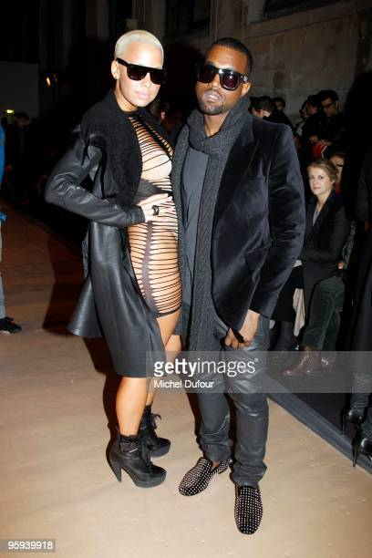Kanye West and Amber Rose at the Kriss Van Assche fashion show during Paris Menswear Fashion Week Autumn/Winter 2010 at Couvent des Cordeliers on...