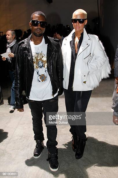 Kanye West and Amber Rose at the Lanvin fashion show during Paris Menswear Fashion Week Autumn/Winter 2010 at Palais De Tokyo on January 24 2010 in...