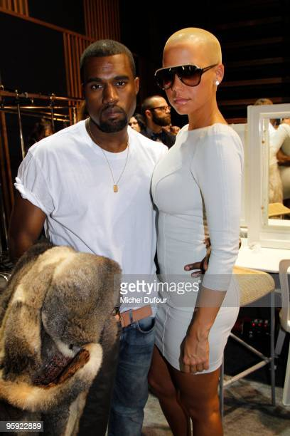 Kanye West and Amber Rose at the Louis Vuitton fashion show during Paris Menswear Fashion Week Autumn/Winter 2010 at Le 104 on January 21 2010 in...