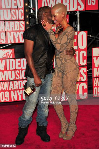 Kanye West and Amber Rose attend 2009 MTV Video Music Awards Arrivals at Radio City Music Hall on September 13 2009 in New York City