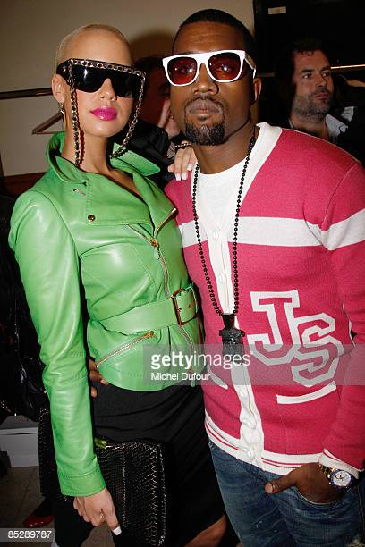 Kanye west and Amber Rose attend Backstage at the Jeremy Scott ReadytoWear A/W 2009 fashion show during Paris Fashion Week at Faculte de Medecine on...