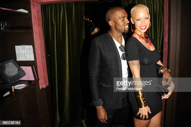 Kanye West and Amber Rose attend J BRAND / HUSSEIN CHALAYAN Private Dinner at Hotel Griffou on July 29 2009 in New York City