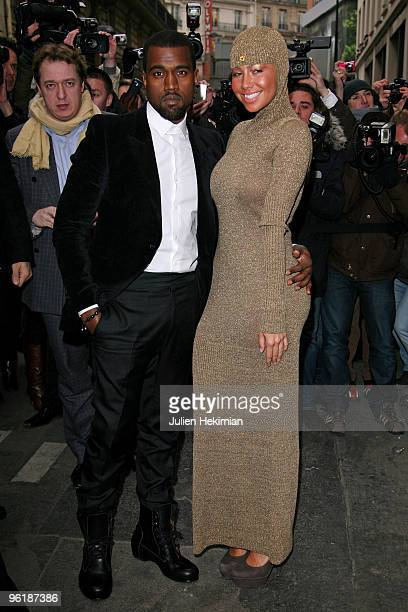 Kanye West and Amber Rose attend the Chanel HauteCouture show as part of the Paris Fashion Week Spring/Summer 2010 at Pavillon Cambon Capucines on...