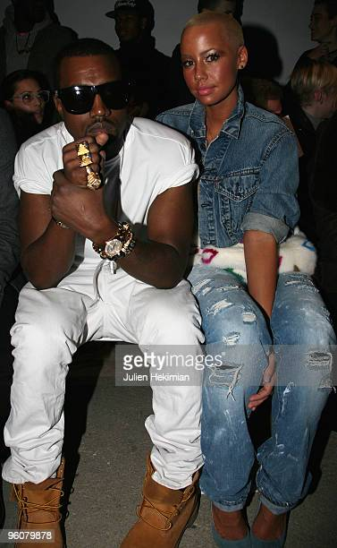 Kanye West and Amber Rose attend the Dunhill fashion show during Paris Menswear Fashion Week Autumn/Winter 2010 at Palais De Tokyo on January 23 2010...