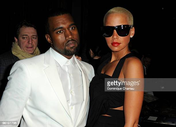 Kanye West and Amber Rose attend the Givenchy HauteCouture show as part of the Paris Fashion Week Spring/Summer 2010 on January 26 2010 in Paris...