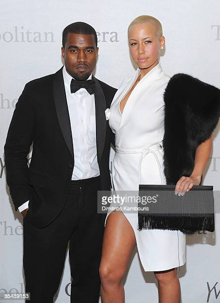 Kanye West and Amber Rose attend the Metropolitan Opera's 125th anniversary gala at Metropolitan Opera House at Lincoln Center on March 15 2009 in...
