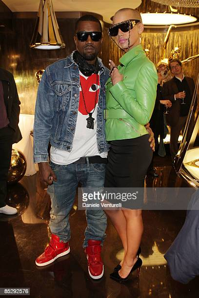 Kanye West and Amber Rose attend the Roberto Cavalli opening boutique party during Paris Fashion Week ready-to-wear Autumn / Winter 2009 on March 7,...