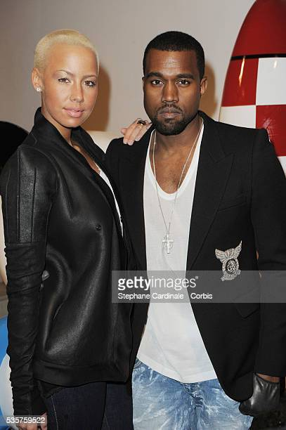 Kanye West and Amber Rose attend the Vernissage of Hi Panda by Jiji exhibition at the Palais de Tokyo in Paris