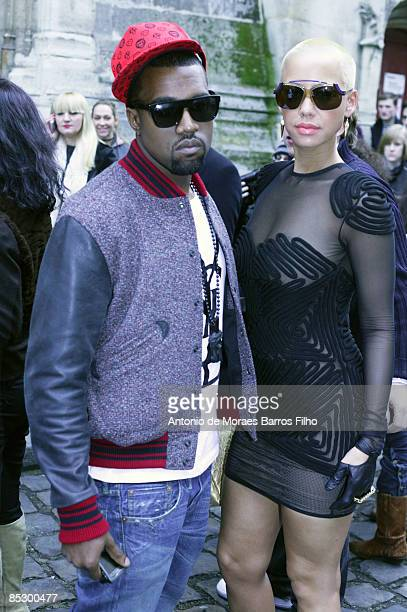 Kanye West and Amber Rose attends at the Hussein Chalayan ReadytoWear Autumn/Winter 2009 fashion show during Paris Fashion Week at Couvent des...