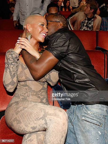 Kanye West and Amber Rose pose at the 2009 MTV Video Music Awards at Radio City Music Hall on September 13 2009 in New York City