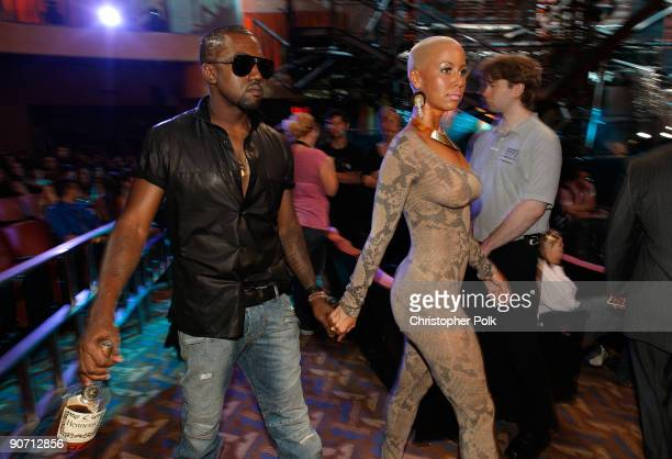 Kanye West and Amber Rose walk together at the 2009 MTV Video Music Awards at Radio City Music Hall on September 13 2009 in New York City