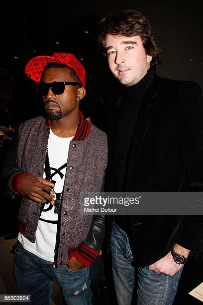Kanye West and Antoine Arnault attends at the Givenchy ReadytoWear A/W 2009 fashion show during Paris Fashion Week at Carreau du Temple on March 8...