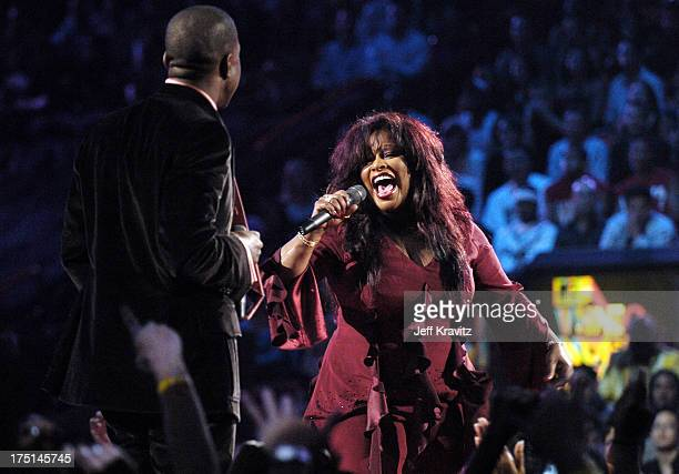 Kanye West and Chaka Khan during 2004 MTV Video Music Awards Show at American Airlines Arena in Miami Florida United States