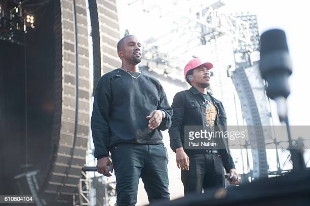 Kanye West and Chance the Rapper at the Magnificent Coloring Day Festival at Comiskey Park in Chicago Illinois September 24 2016