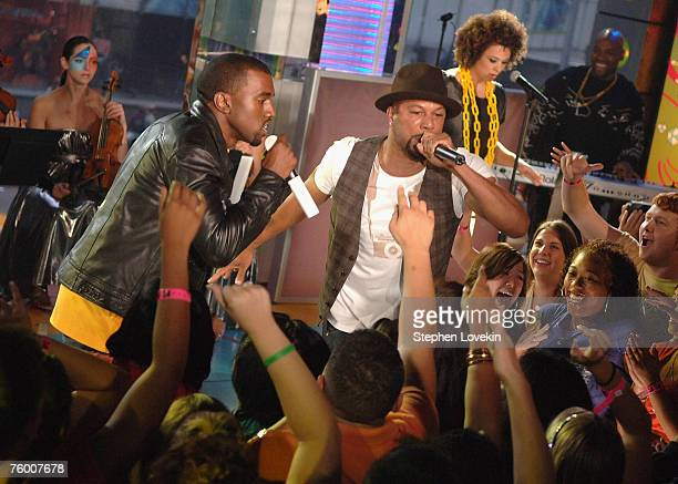 """Kanye West and Common perform during MTV's """"TRL"""" announcing the nominations for the 2007 MTV Video Music Awards at MTV Studios in Times Square on..."""