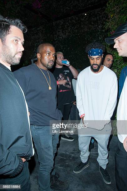 Kanye West and designer Jerry Lorenzo attend Travis Scott Music Video Premiere Party For Pick Up The Phone 90210 on August 12 2016 in Hollywood...