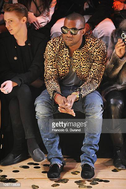 Kanye West and Elly Jackson of La Roux attend the Vivienne Westwood Ready to Wear Autumn/Winter 2011/2012 show during Paris Fashion Week at Pavillon...