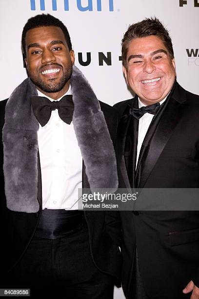 Kanye West and Flaunt Magazine Publisher Louis Barajas arrive at Flaunt Magazine's 10th Anniversary Party and Annual Holiday Toy Drive at the Wayne...
