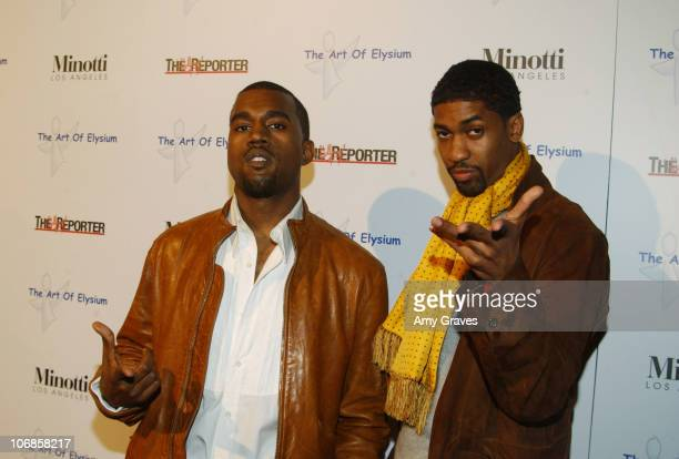 """Kanye West and Fonzworth Bentley during The Art of Elysium Presents Russel Young """"fame, shame and the realm of possibility"""" Hosted by Balthazar Getty..."""