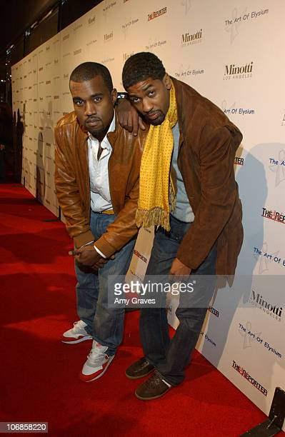Kanye West and Fonzworth Bentley during The Art of Elysium Presents Russel Young fame shame and the realm of possibility Hosted by Balthazar Getty...