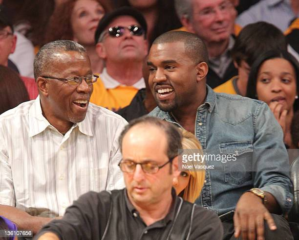 Kanye West and guest attend the Los Angeles Lakers vs Chicago Bulls game on December 25 2011 in Los Angeles California