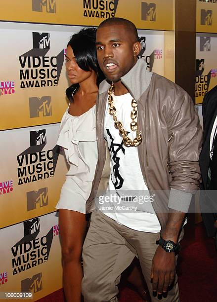 Kanye West and guest during 2006 MTV Video Music Awards Red Carpet at Radio City Music Hall in New York City New York United States
