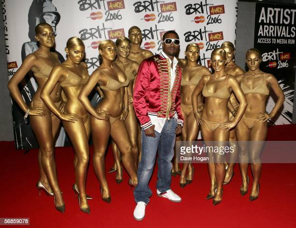 Kanye West and his dancers arrive at The Brit Awards 2006 with MasterCard at Earls Court 1 on February 15 2006 in London England The 26th annual...