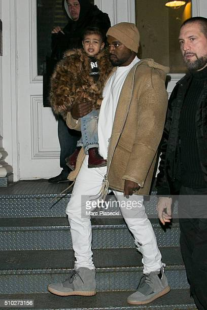 Kanye West and his daughter North West are seen on February 14 2016 in New York City