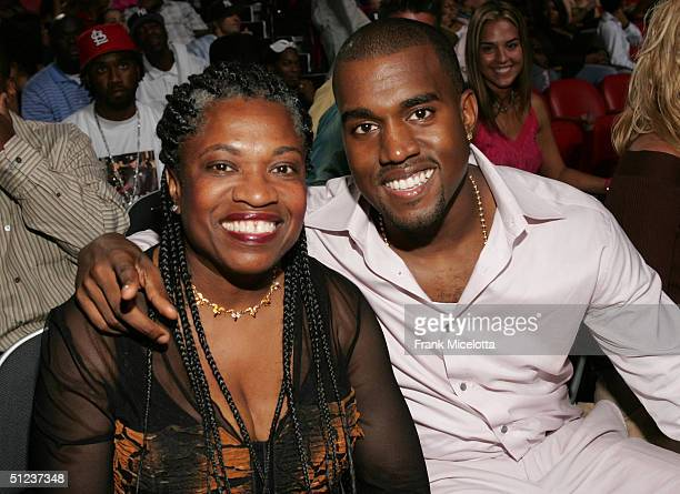 Kanye West and his mother attend the 2004 MTV Video Music Awards at the American Airlines Arena August 29 2004 in Miami Florida