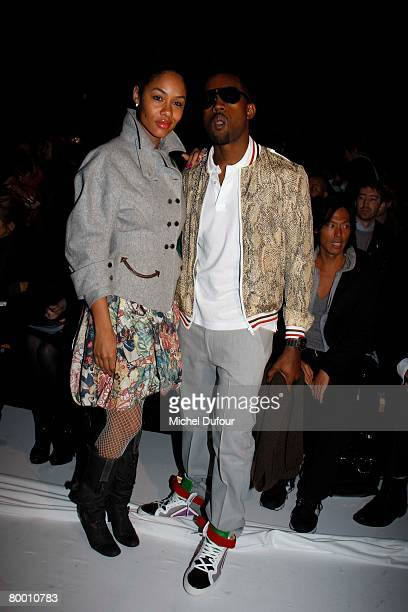 Kanye West and his wife Alexis Phifer attends the Viktor Rolf Fashion show during Paris Fashion Week FallWinter 20082009 at Carreau du Temple on...