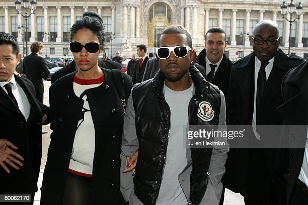 Kanye West and his wife arrive at the Chanel Fall Winter 2008/09 Fashion show on February 29 2008 in Paris France