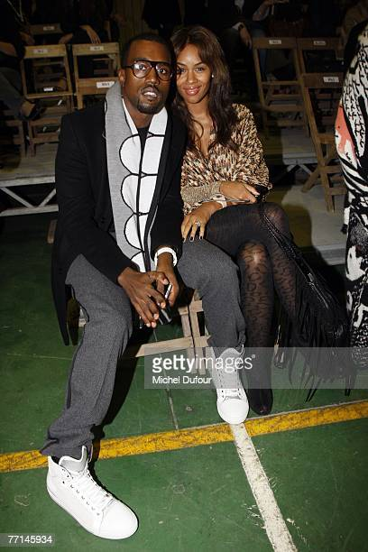 Kanye West and his wife attend the Yohji Yamamoto fashion show spring/summer 2008 at le Carreau du Temple on October 1 2007 in Paris France
