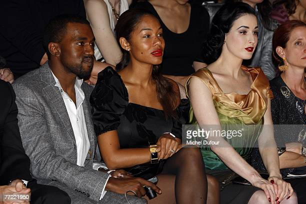 Kanye West and his wife Dita von Teese attends the Louis Vuitton fashion show during the Spring/Summer 2008 readytowear collection show at Cour...