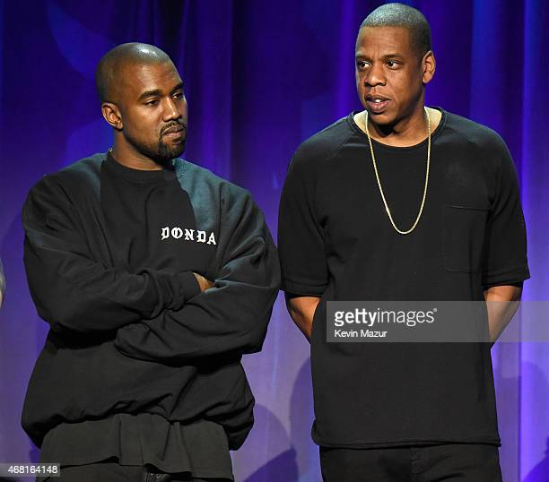 Kanye West and Jay Z attend the Tidal launch event #TIDALforALL at Skylight at Moynihan Station on March 30, 2015 in New York City.