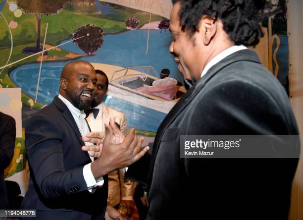 Kanye West and Jay-Z attend Sean Combs 50th Birthday Bash presented by Ciroc Vodka on December 14, 2019 in Los Angeles, California.